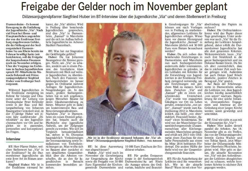 Presseschnipsel Geld Huber