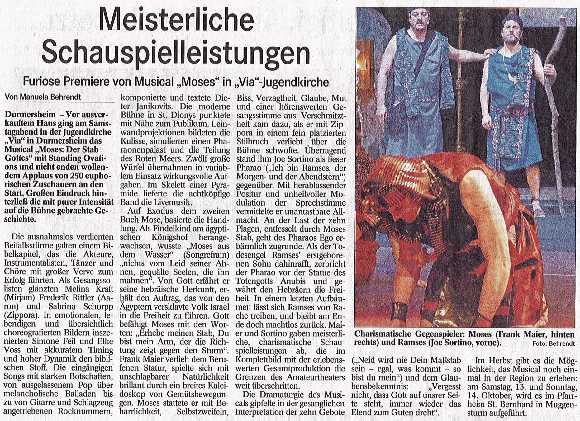 Moses Musical Premiere im Badischen Tagblatt