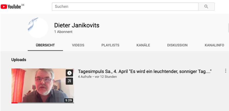 Morgenimpulse von Dieter auf Youtube